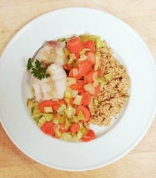 Poached Fish and Rice Pilaf