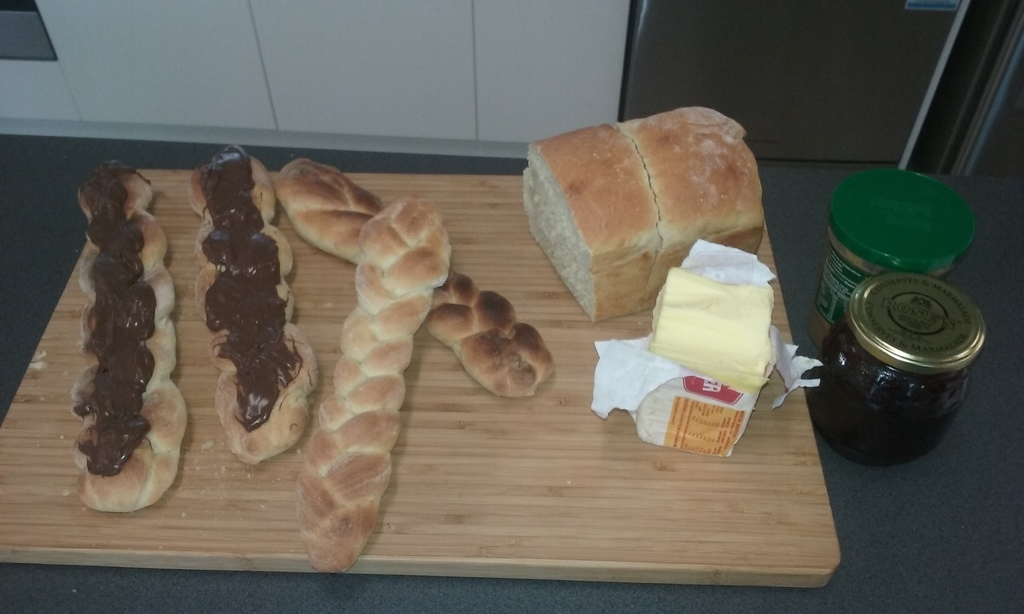 fresh breadsticks with chocolate