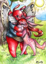 Vikki and Roza hug and friendly bite 'w'
