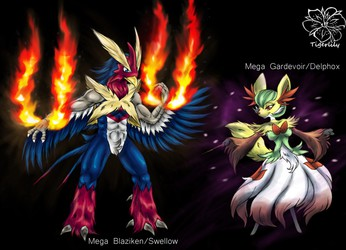 Pokefusions Mega blaziken/swellow and Mega Gardevoir/Delphox