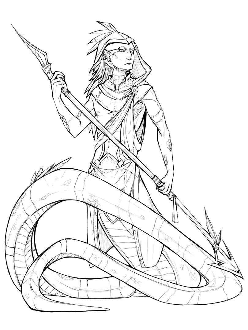 Featured image: Coloring book page - Naga Sentry