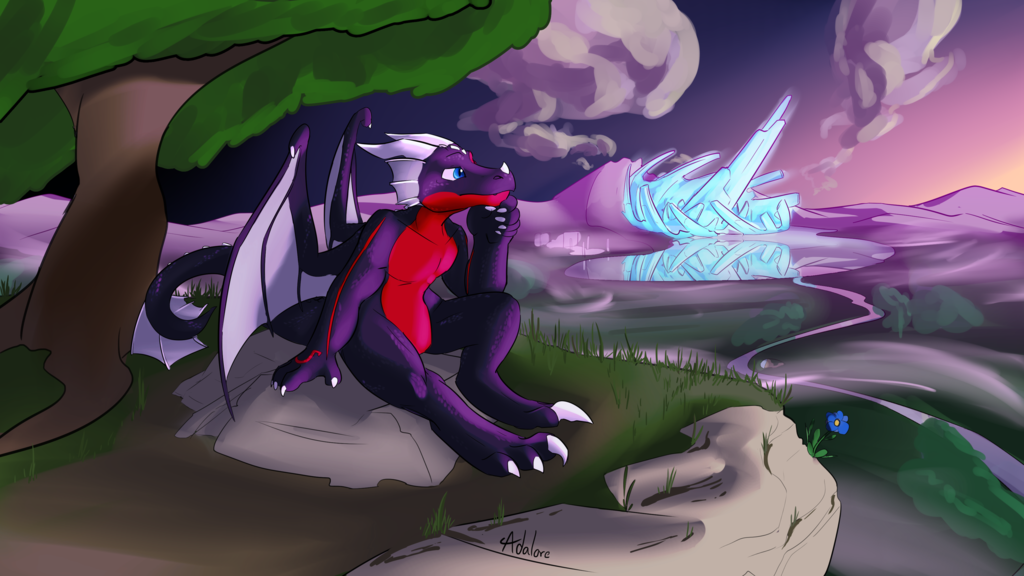 Commission - Nightdragon0 - Cliffside thought