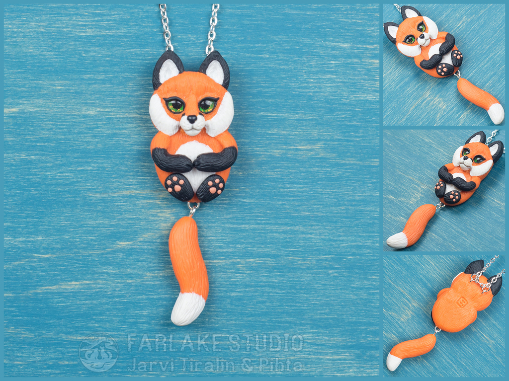 Chibi red fox full body pendant - for sale