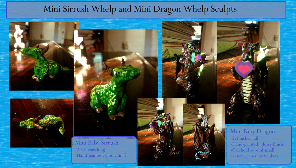 Mini Baby Sirrush and Dragon (On Etsy!)