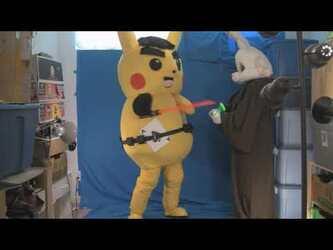 Mascot Fursuiting: Darth Ace Spade the Pikachu vs Jedi Scorbunny (Unscripted)