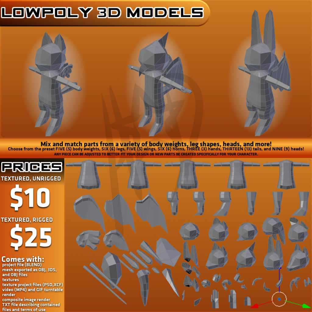 OPEN FOR COMMISSIONS - LOWPOLY 3D MODELS