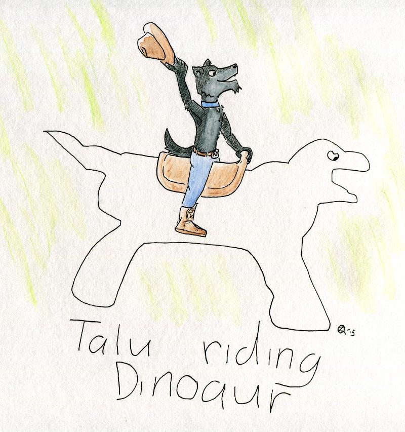Talu riding Dinoaur