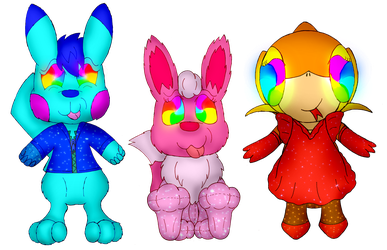 """Ace, Ginger and Ivy in a """"Trippy Trance"""" (Commission)"""
