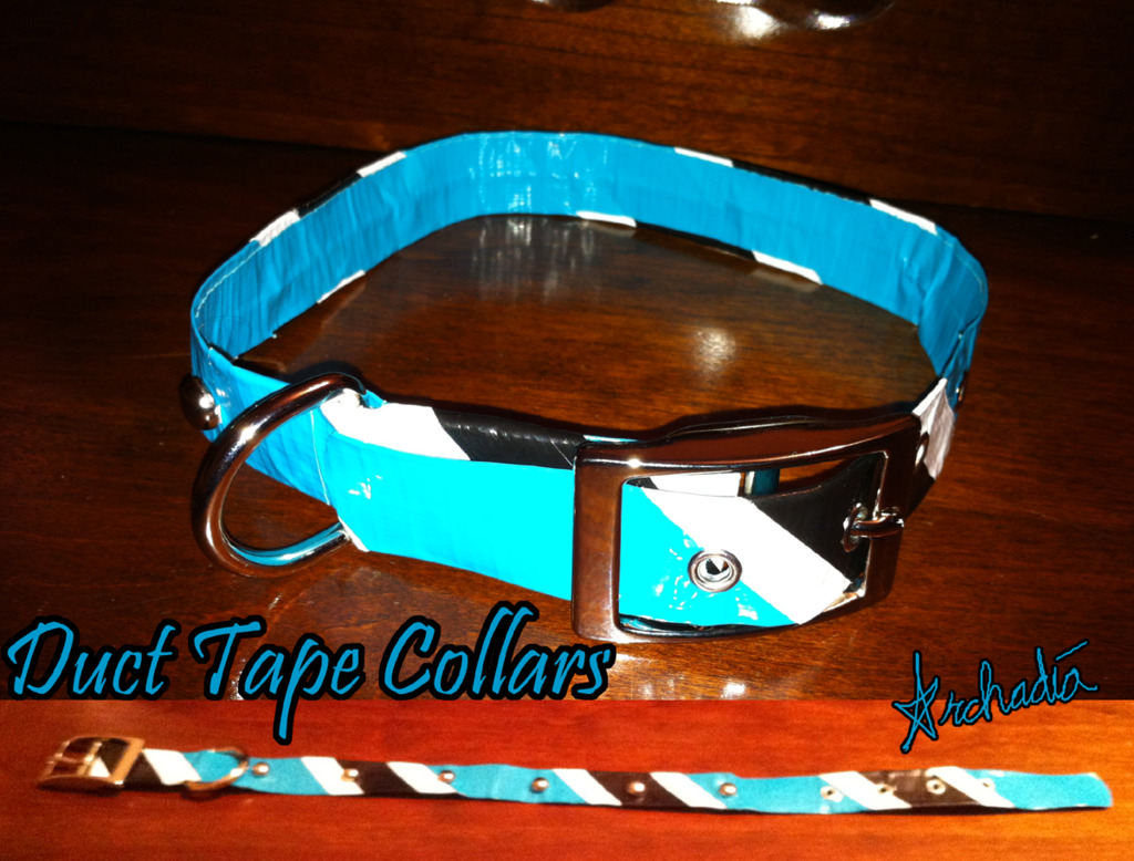 Duct Tape Collar - Teal/Black/White