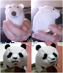 Polar and panda bear head plush design