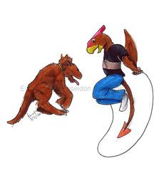 redheaded dragon playing with his pygmy polar dragon