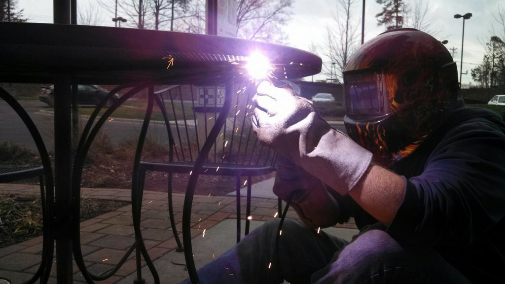 Repair welds on some patio tables