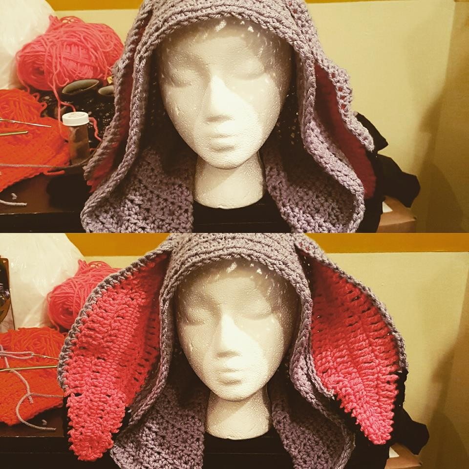 Grey rabbit hood