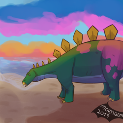 Stegosaurus chilling at beach