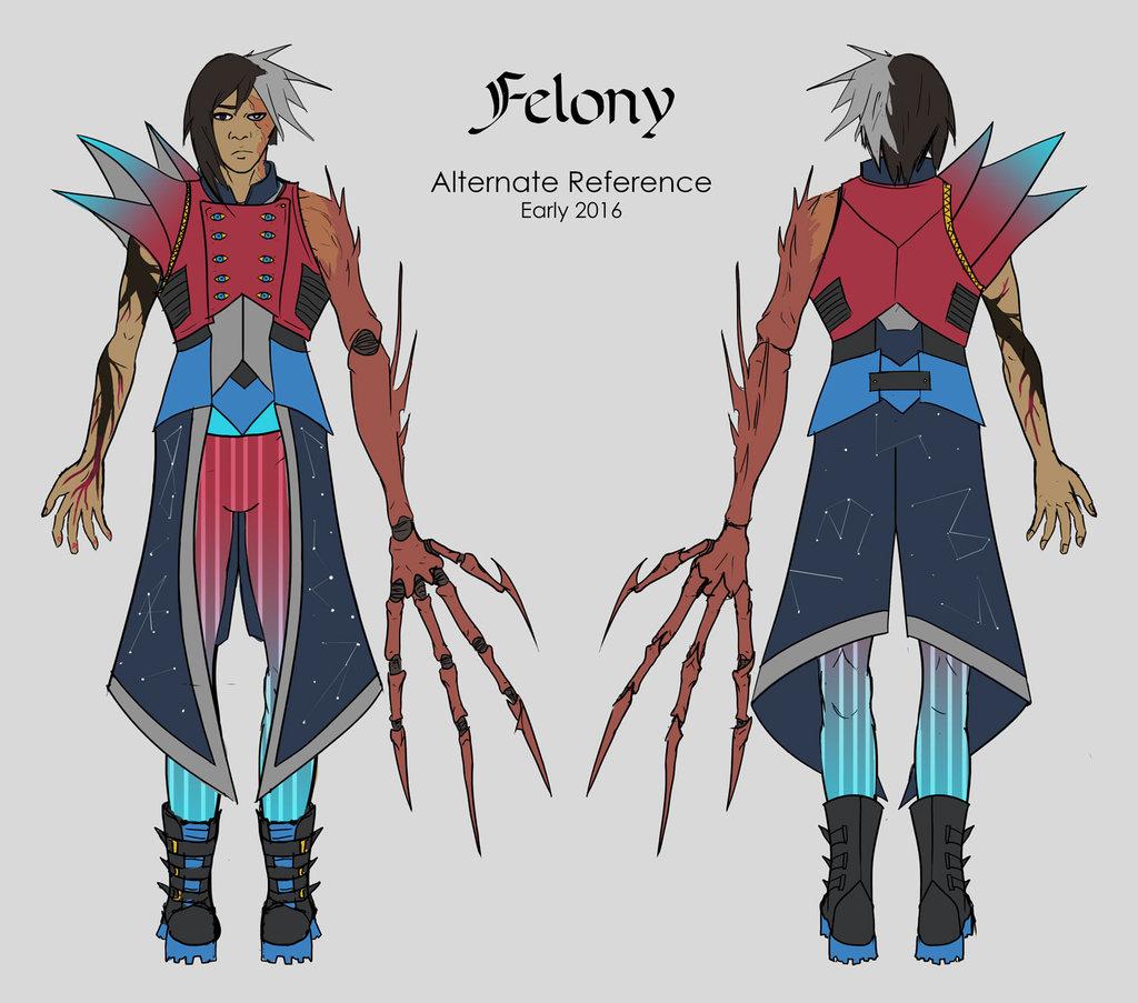 Most recent image: Felony ref sheet (fancy mage gear)