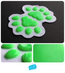 HANDPADS: Glittery lime (UV)