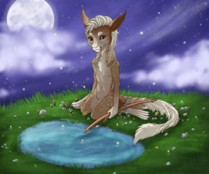 Atalo by pond with flowers YCH
