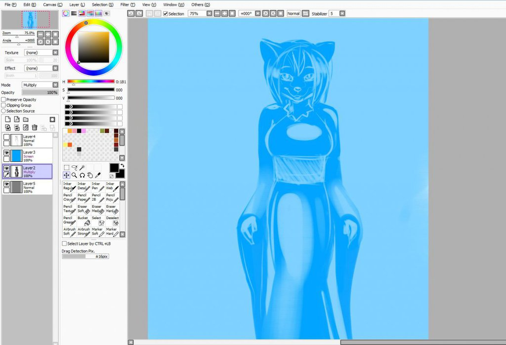 Most recent image: Foxy Mary Full - Commission - Work in Progress