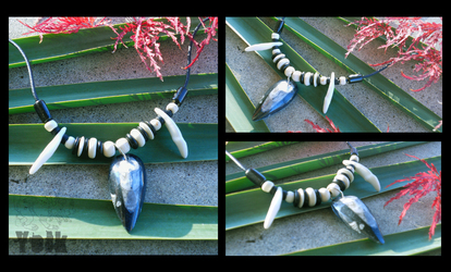 Orthoceras Necklace with Coyote Canines (For Sale)