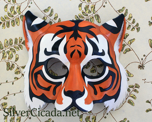 Tiger mask in leather