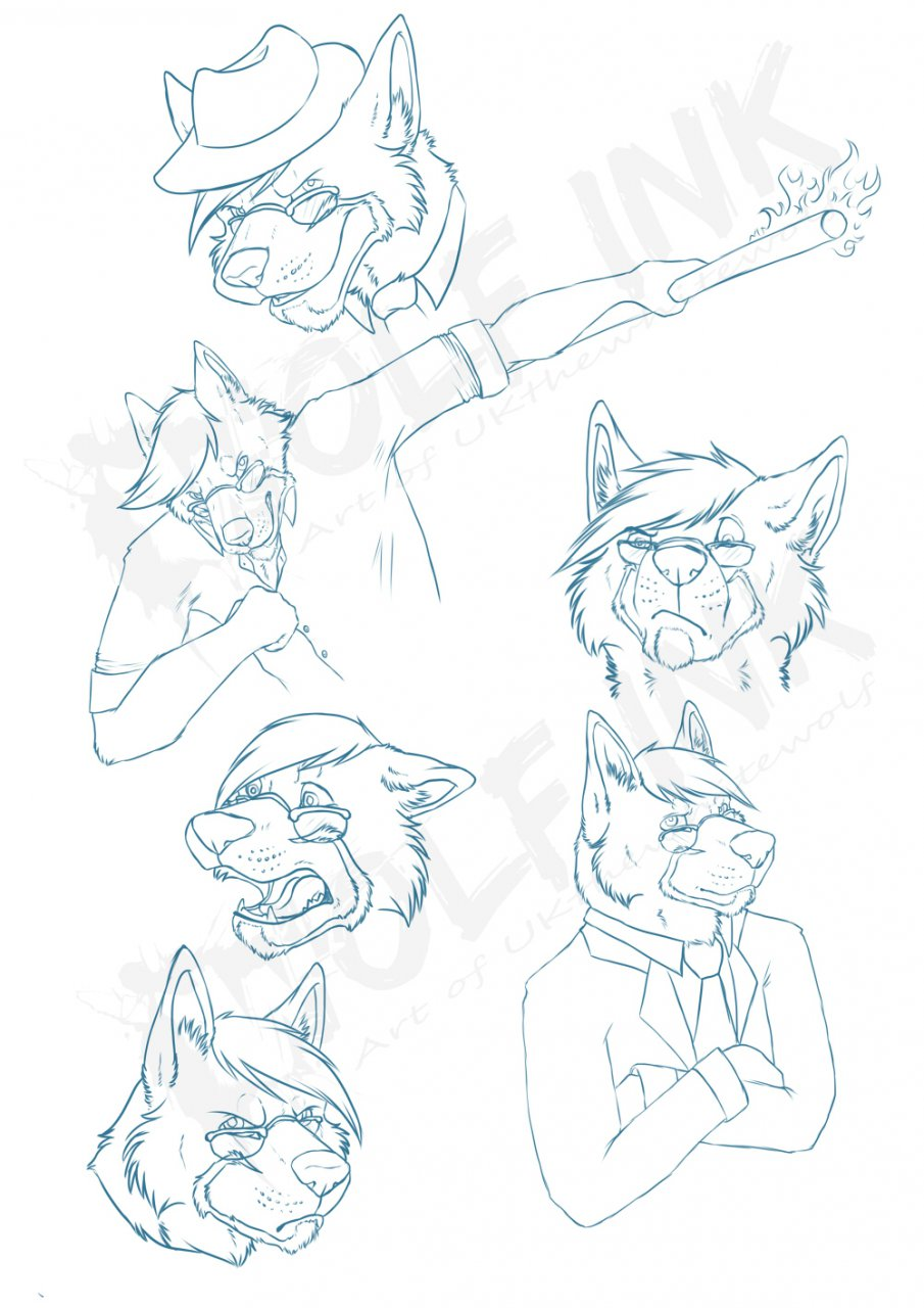 LiteraryWolf sketch page 1 of 2