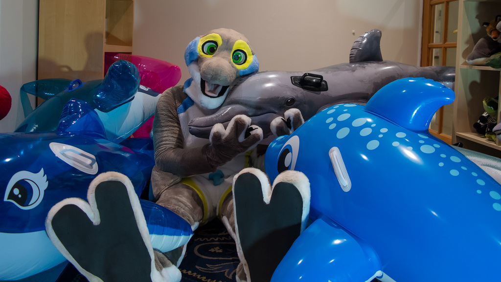 Snuggles with the pool toy pod
