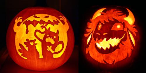 Halloween 2017 Chook and Sosig Pumpkins