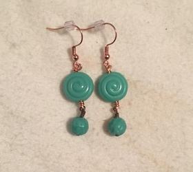 Blue Swirl Copper Earrings
