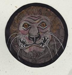 Lion Badge or Coaster: Classical Theme