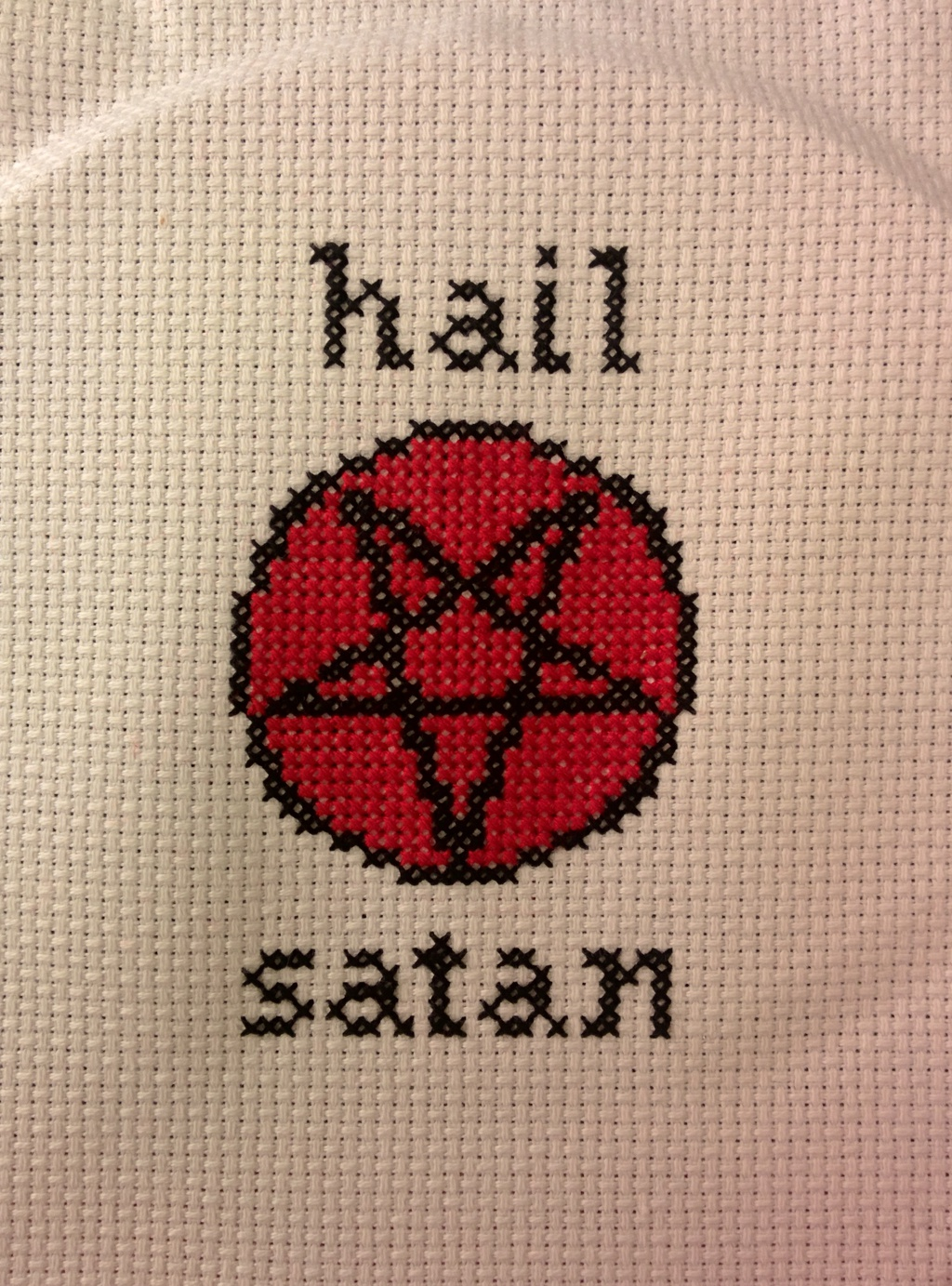 Featured image: Hail Satan Cross-Stitch [For Sale!]