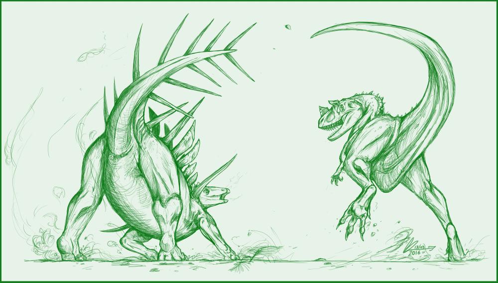 Ceratosaurus Vs Kentrosaurus Sketch