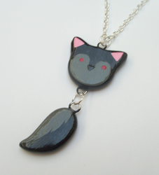 Dark Wolf Dangle Tail Necklace
