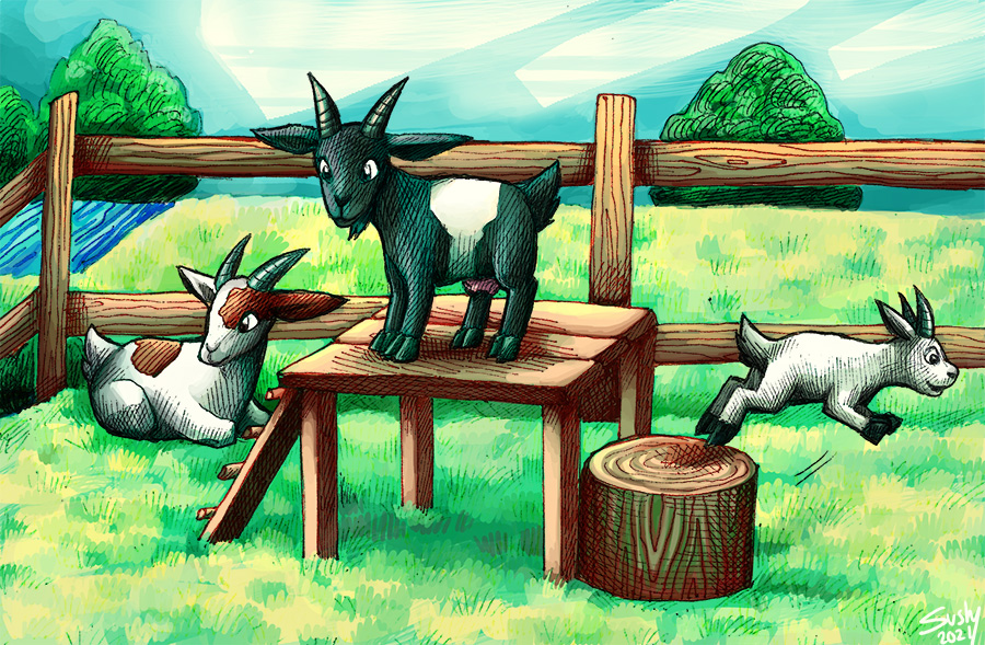 Most recent image: three goats