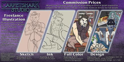 Carpetshark Studio Commission Price Sheet