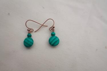 Green Stripe Copper Earrings