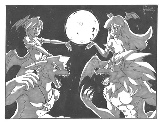 Inktober 31th 2018: Succubi & Werewolves