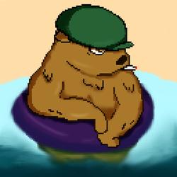 A bear float on the sea