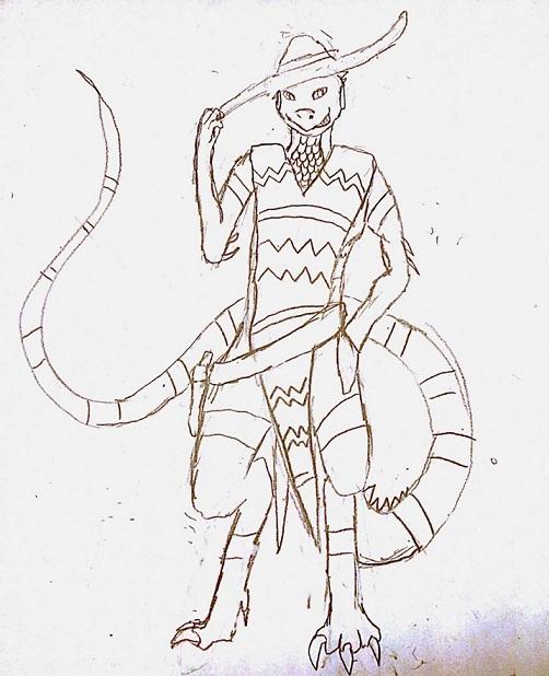 Gunslinging Iguana Sketch