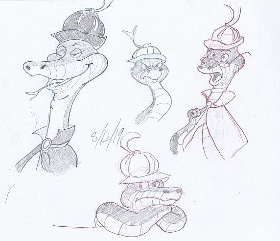 sir hiss practice sketches