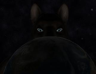 Peeking over the Earth (Night Time)