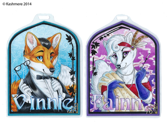 Art Nouveau badges Vinnie & Fainn