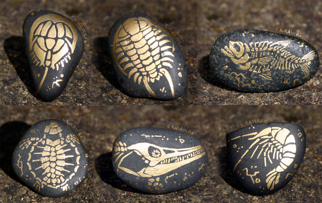 Painted Fossil Rock Magnets - Sea Animals