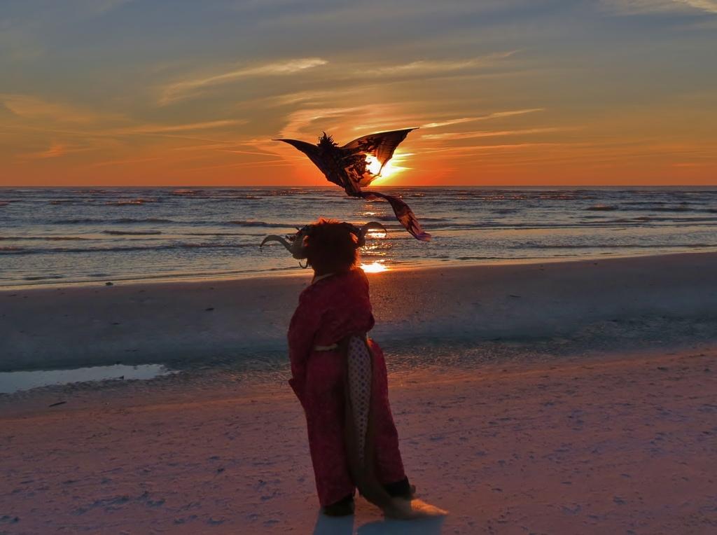 Dragon Kite at Sunset
