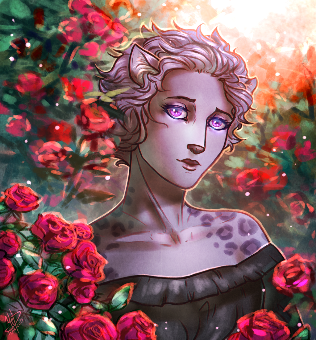 Lady in roses