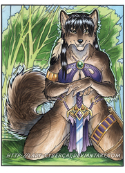 Green Forest Wolf Watercolor Auction