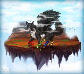 Wolf's flying island