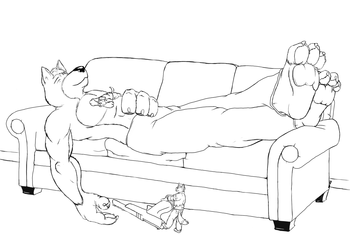 Resting Wolfdogs and the Planning Gamer Fox
