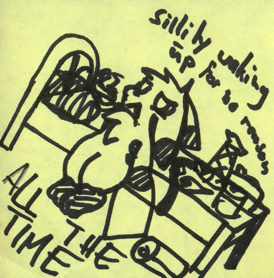 Sillily Waking Up - Sticky Note Doodle