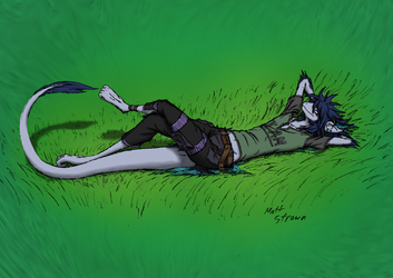 Lying in the Grass (Colored)