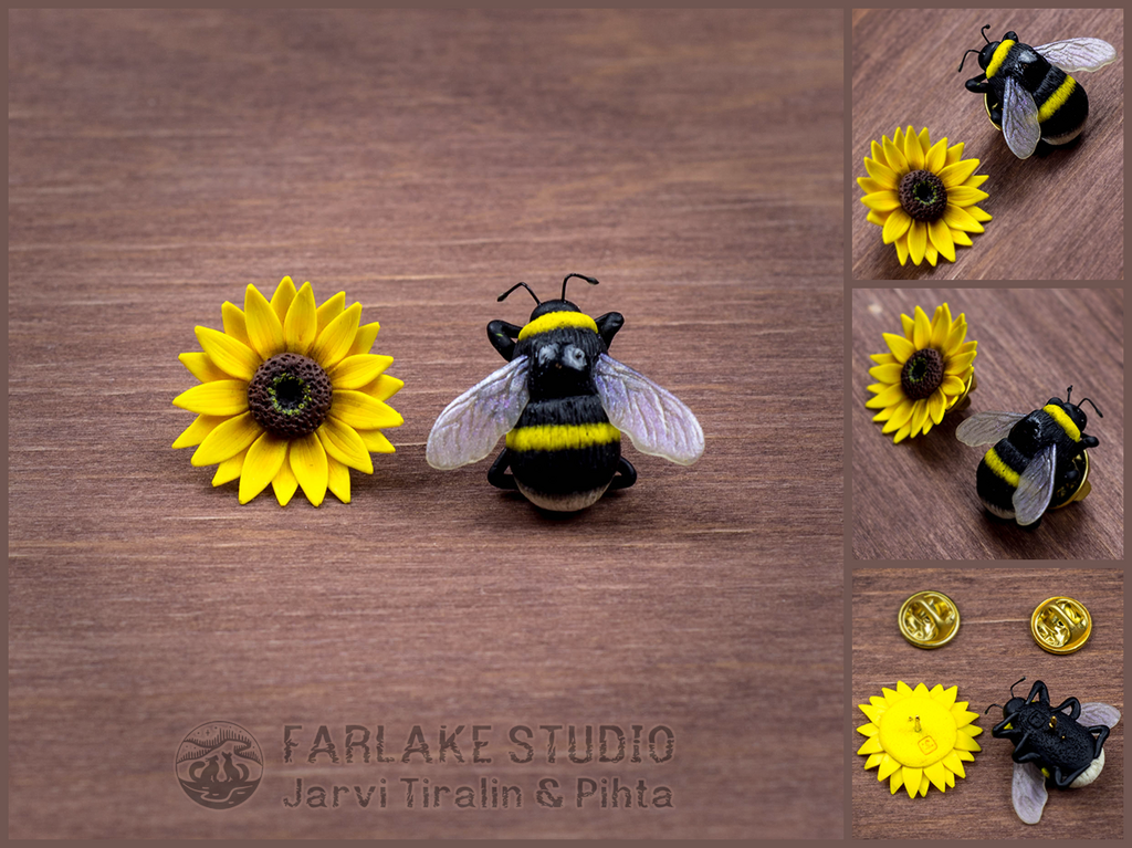 Bumblebee and sunflower pins set of 2